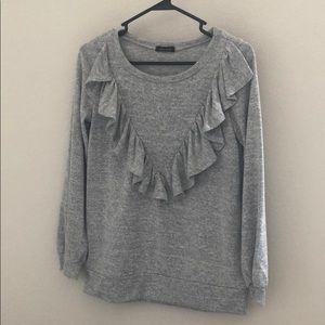 Sweaters - Women's ruffle grey sweater